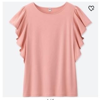 ユニクロ(UNIQLO)のユニクロ フリルスリーブT 半袖 ピンク(Tシャツ(半袖/袖なし))