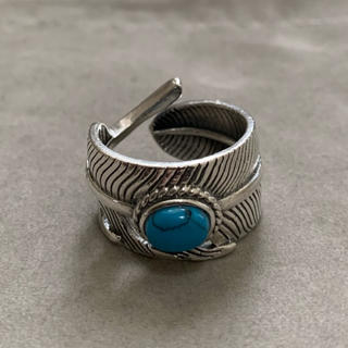 シルバー925 天然石ターコイズ フェザーリング  シルバー 銀縄 (リング(指輪))