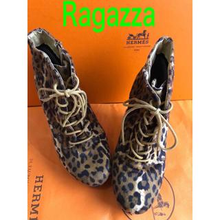 Ragazzaラガッツァショートブーツヒョウ柄足小さく見える歩き易い美品(ブーツ)