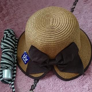 ケイトスペードニューヨーク(kate spade new york)の🍎ケイトスペード 折りたたみ傘&麦わら帽子(傘)