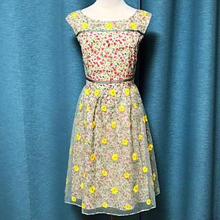 トッカ(TOCCA)の新品 定価46440 TOCCA ドレス 花柄 ワンピース 刺繍 トッカ 0(ひざ丈ワンピース)