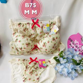 【新品未使用タグ付き】B75  M M ホワイトに花柄 ブラジャーとショーツ3点(ブラ&ショーツセット)