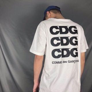 COMME des GARCONS - コムデギャルソン CDGロゴ  Tシャツ ホワイト  L サイズ