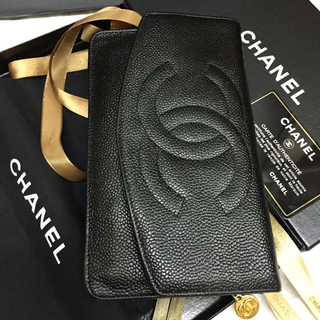 シャネル(CHANEL)のヴィンテージ✨CHANEL長財布✨デカココ✨キャビア✨人気のフラップ✨BLACK(長財布)