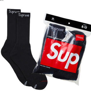 シュプリーム(Supreme)のsupreme hanes 靴下 socks 2足 黒 新品 ソックス(ソックス)