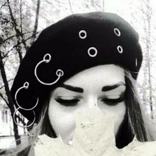 リング ピアスベレー帽 ブラック⌒