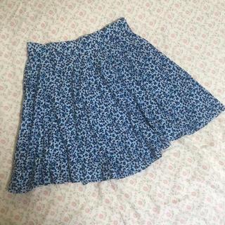 ユニクロ(UNIQLO)のユニクロ ミニ丈フレアスカート 青系 M(ミニスカート)
