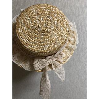 韓国 麦わら帽子 カンカン帽 レース リボン