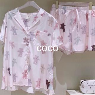 テディベアサテンシャツ&ショートパンツ(ピンク)