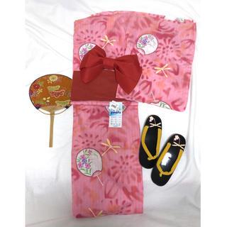 【新品未使用】yukata レディース レトロ柄 浴衣&帯セット ピンク