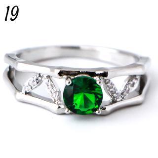 G16 リング 19号 人工石 エメラルド シルバー ラウンド 大きいサイズ(リング(指輪))