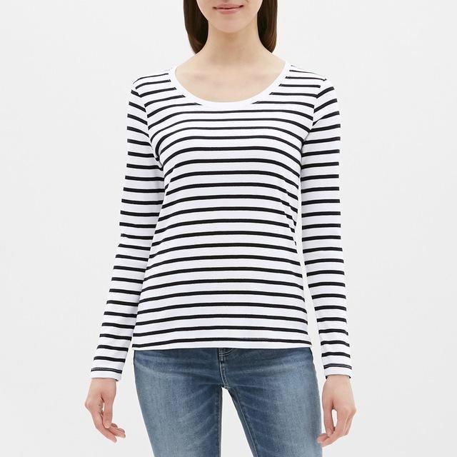 GU(ジーユー)のボーダークルーネックT GU ジーユー 白 ホワイト XSサイズ【305764】 レディースのトップス(Tシャツ(長袖/七分))の商品写真