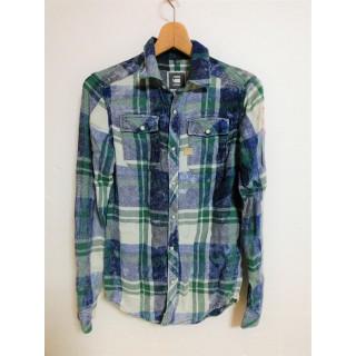 ジースターロウ 長袖 ネルシャツ チェック シャツ XS メンズ レディース(シャツ)