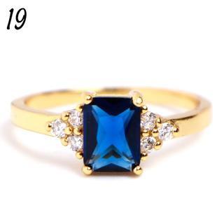 G15 リング 19号 人工石 サファイア ゴールド レディース 大きいサイズ(リング(指輪))