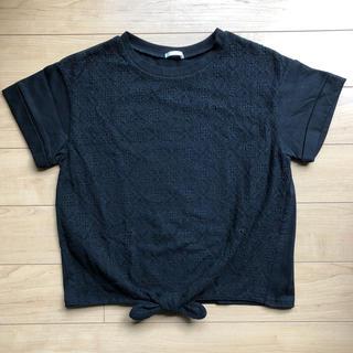GU - ジーユー tシャツ レース 150 女の子 黒 ブラック フロントノット