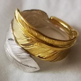 ゴローズ(goro's)の■ラクマ限定特価■ 極美品 全金 全銀 コンビフェザー リング 14号(リング(指輪))