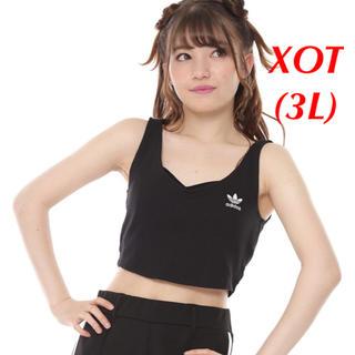 アディダス(adidas)の【レディースXOT(3L)】黒  クロップド タンクトップ(タンクトップ)