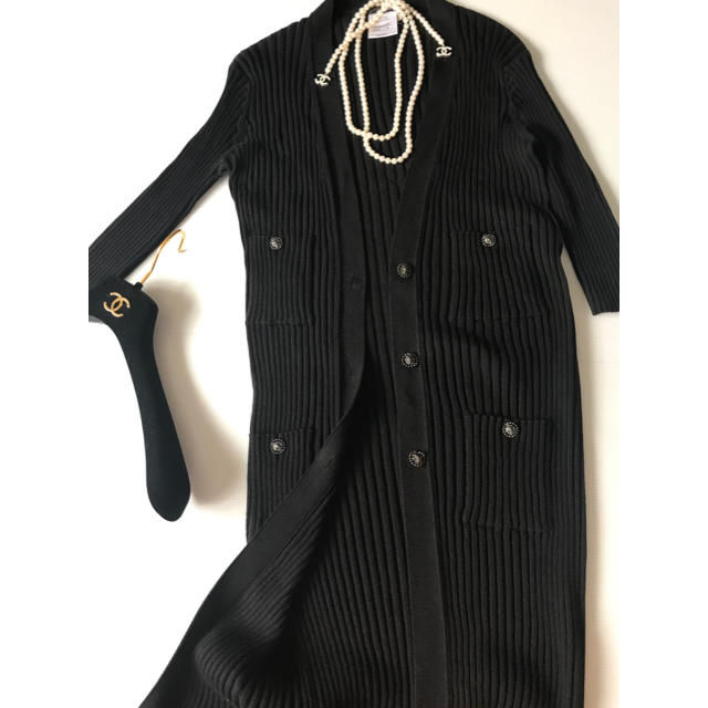 CHANEL(シャネル)のステラさま♡シャネル ロングカーディガン ブラック レディースのトップス(カーディガン)の商品写真