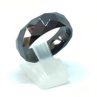 25号 ブラックセラミックカットリング 幅8mm 送料無料 (リング(指輪))