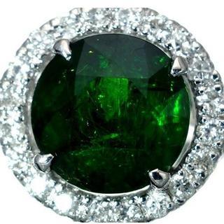 極上天然デマントイドガーネット2.180ct&ダイヤモンド K18WGリング(リング(指輪))