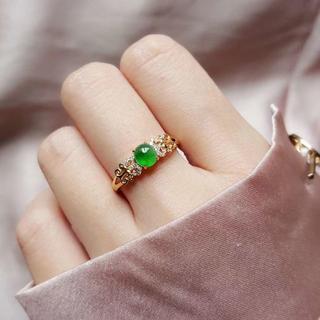 214 k18ゴールドリング ひょうたん翡翠リング ダイヤモンドリング 指輪 (リング(指輪))