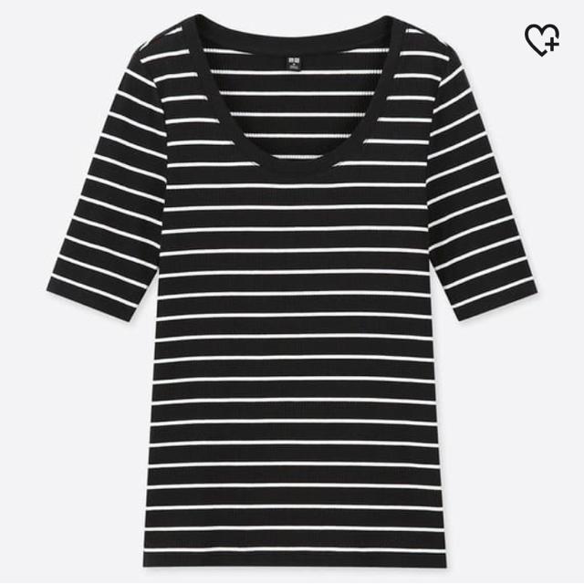 UNIQLO(ユニクロ)のUNIQLO リブUネックTシャツ レディースのトップス(Tシャツ(半袖/袖なし))の商品写真