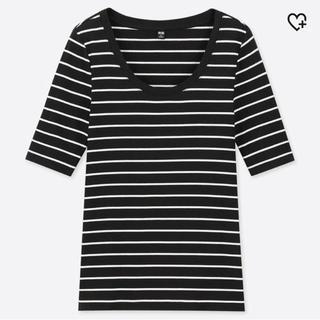 UNIQLO - UNIQLO リブUネックTシャツ