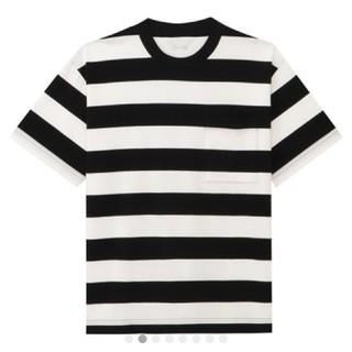 ムジルシリョウヒン(MUJI (無印良品))の綿ボーダードロップショルダーTシャツ L〜XL(Tシャツ/カットソー(半袖/袖なし))