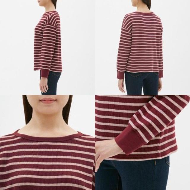 GU(ジーユー)のボーダーワッフルドルマンT (長袖) GU ジーユー レディースのトップス(Tシャツ(長袖/七分))の商品写真