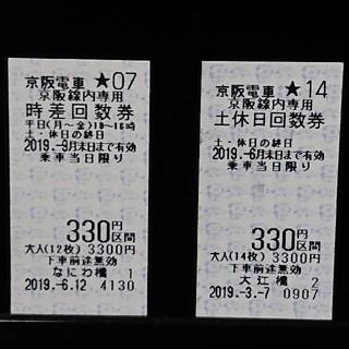 京阪電車 330円区間行き回数券2枚セット
