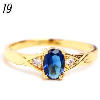 G30 リング 19号 人工石 サファイア ゴールド オーバル 大きいサイズ(リング(指輪))