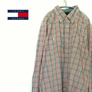 トミーヒルフィガー(TOMMY HILFIGER)の古着☆人気 トミーヒルフィガー   チェックシャツ長袖 オレンジ×ネイビー(シャツ)