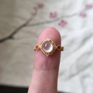216 k18ゴールドリング 黄翡翠リング ダイヤモンドリング 指輪 ピンクゴ(リング(指輪))
