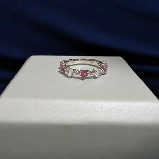 K10WG ピンクトルマリン☆ムーンストーン☆ハートシェイプ ダイヤモンドリング(リング(指輪))