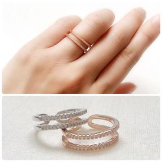 指輪 ピンクゴールド シルバー リング フリーサイズ レディース 新品(リング(指輪))