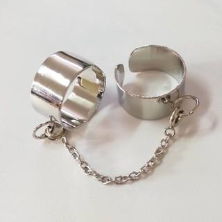 リング 2連リングチェーン付き フリーサイズ(リング(指輪))