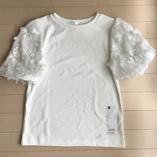 ジーユー(GU)のGU シアーエンブロイダリーT ホワイト(Tシャツ(半袖/袖なし))