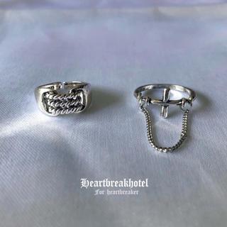 限定1点 ♡ Vintage Silver Cross Chain Ring