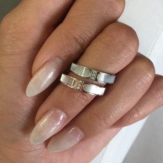 キラキラ付き、天然白蝶貝使用!チタンステンレスリング指輪(リング(指輪))