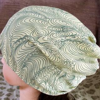 難有 難隠し 59 錦紗縮緬 波 渦 波頭 意匠  キャップ 室内帽子