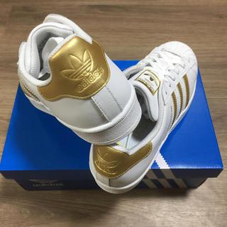 アディダス(adidas)の新品未使用!adidas アディダス スーパースター 白×ゴールド24.5センチ(スニーカー)