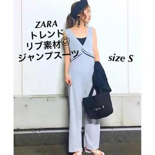 ZARA - 人気✩ZARA✩ジャンプスーツ✩リブ素材✩ロンパース✩S✩グレー✩送料込