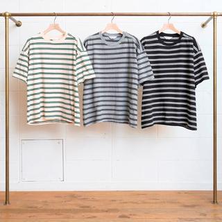 UNUSED - UNUSED Short Sleeve Border T-shirt 18SS