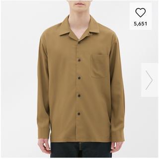 ジーユー(GU)の新品未使用 GU オープンカラーシャツ ブラウン メンズ S(シャツ)
