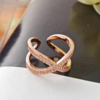 シンプル シルバー925  18金 コーティング 大人気 クロス リング 指輪(リング(指輪))