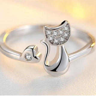かわいい ネコ の レディース リング 指輪 シルバー(リング(指輪))