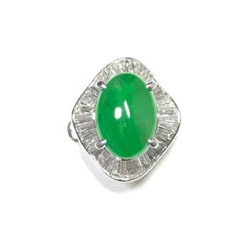 【美品】12.9mmヒスイ、1.28ctダイヤモンド付、Pm900プラチナリング(リング(指輪))