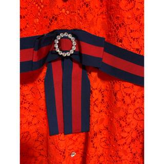 グッチ(Gucci)の期間限定お値下げGUCCIグッチ赤青リボンベルトオレンジレースワンピース42新品(ひざ丈ワンピース)