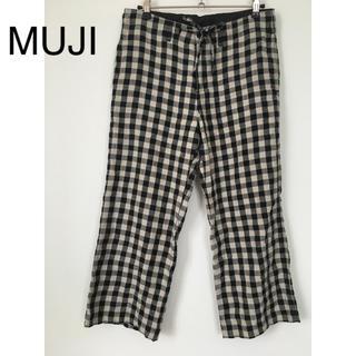 MUJI (無印良品) - 無印良品 リネン クロップドパンツ ギンガムチェック 61(S)