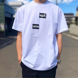 Supreme - supreme☆18AW☆Split Box Logo Tee☆L☆白Tシャツ